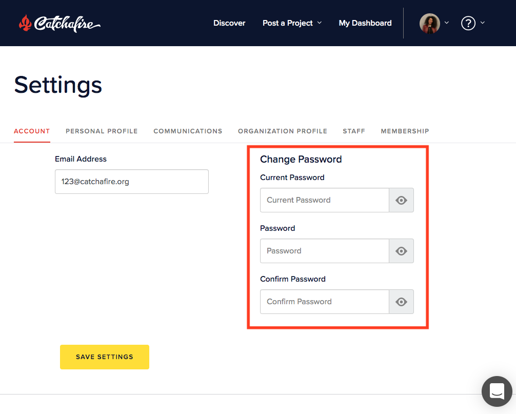 screenshot: change password image