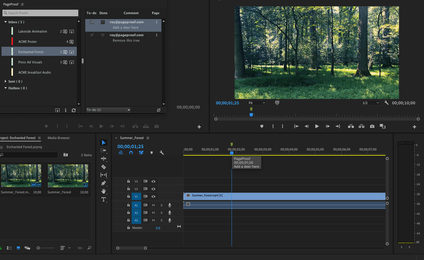 PageProof panel in Adobe Premiere Pro showing comments and their position on the timeline