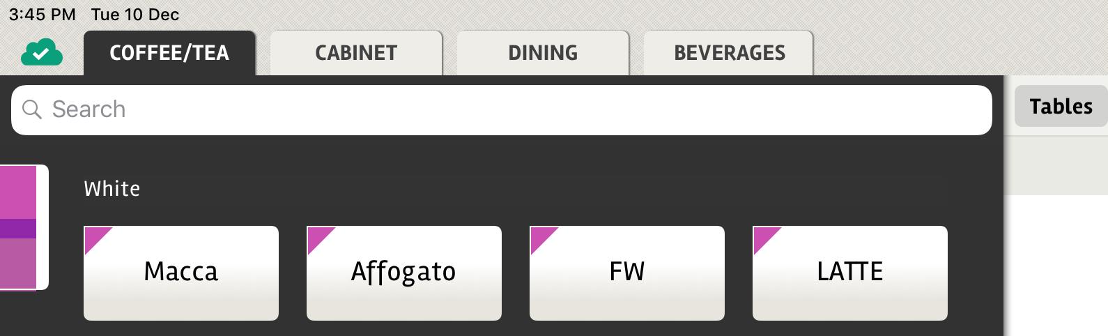 posBoss - Search menu