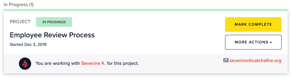 Screenshot image from dashboard of project posting.
