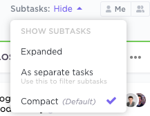 Options for showing subtasks in Board View