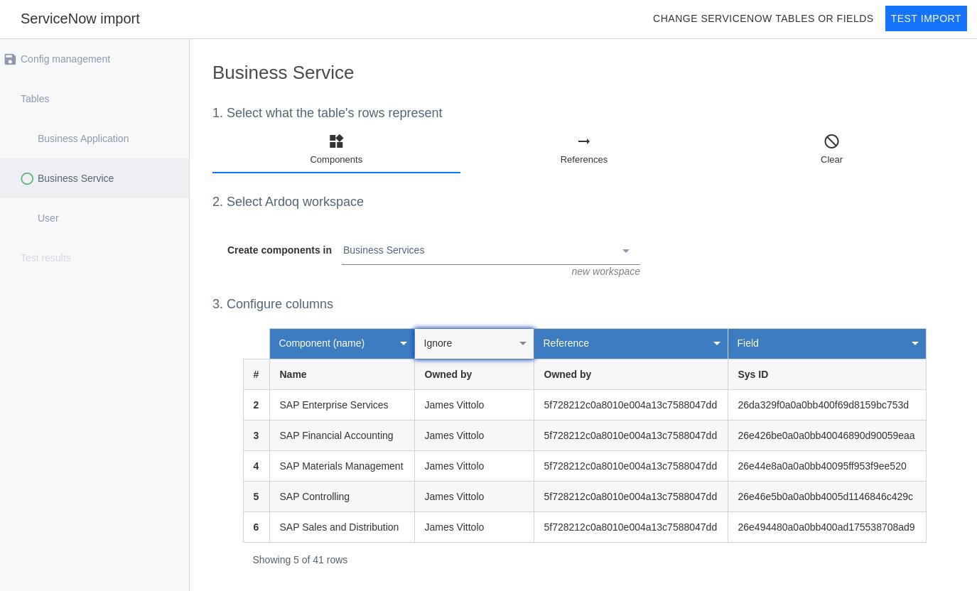 Ardoq ServiceNow configure columns