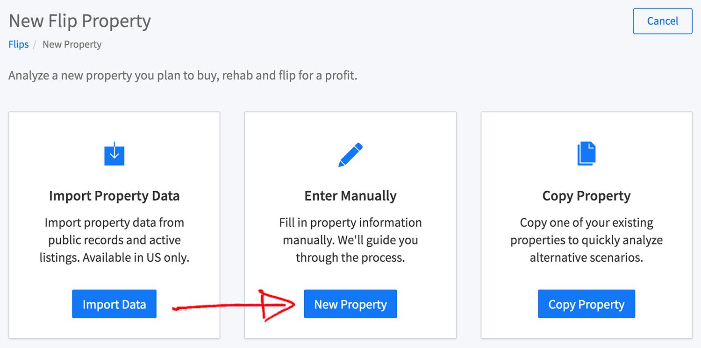 New flip property wizard - enter manually button