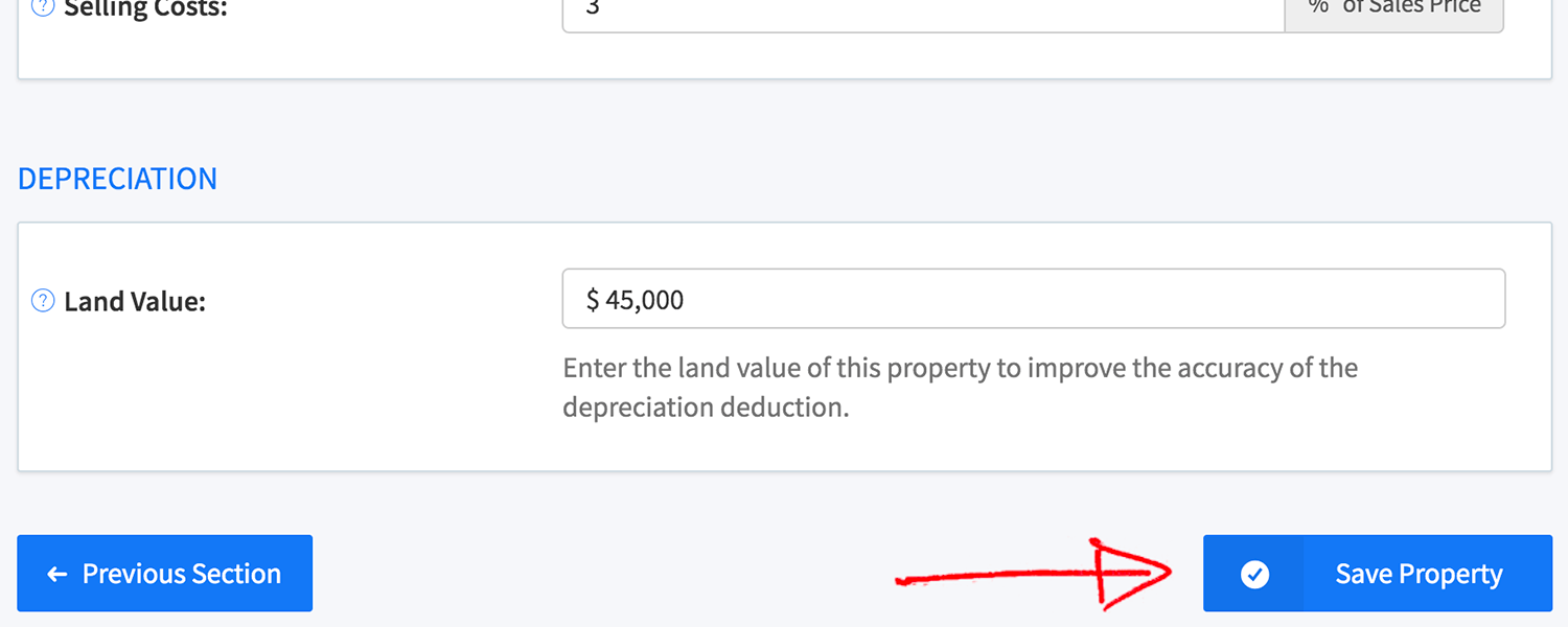 New rental property wizard - save property button