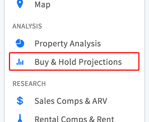 Buy and hold projections link in property menu