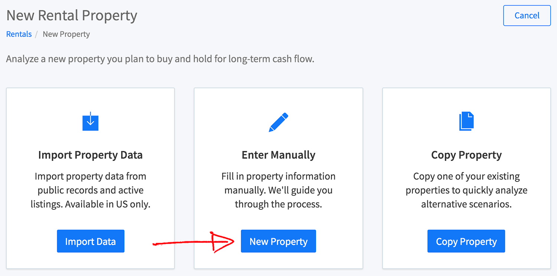 New multi-family property wizard - enter manually button