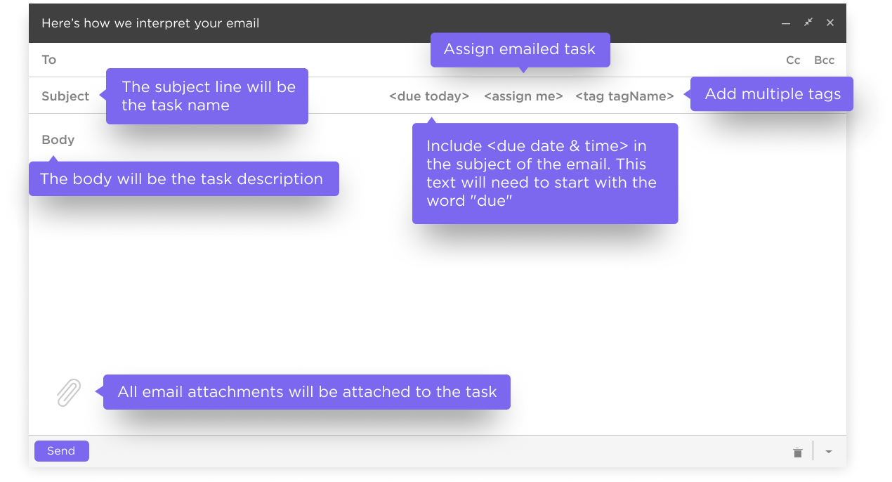 how an email is interpreted by ClickUp