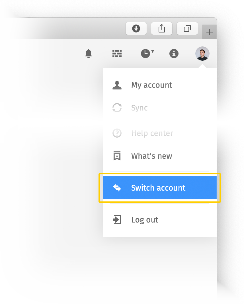 Switching accounts in Pics.io