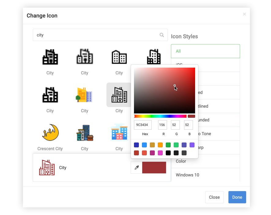 Screenshot of the color picker active in the Change Icon modal.