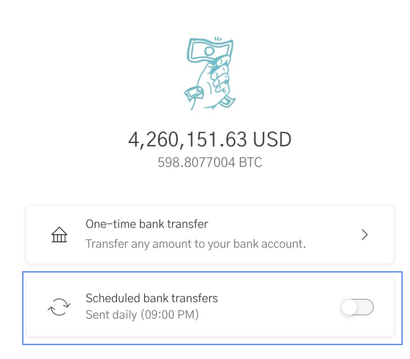 Image of USD wallet on OpenNode for Bank transfers
