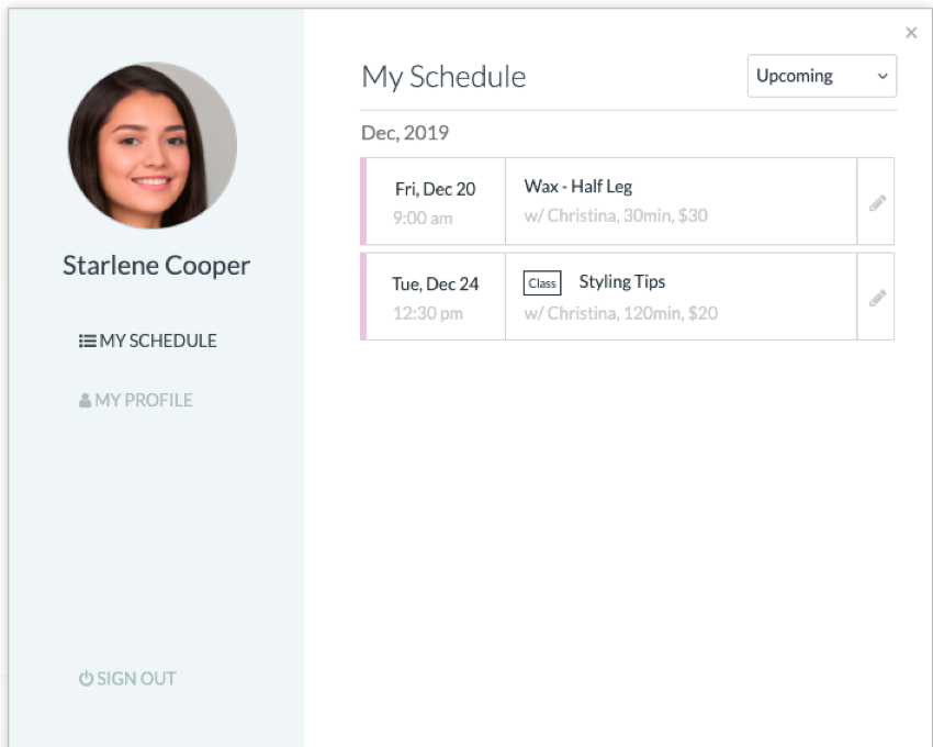 A view of upcoming appointments inside a customer profile