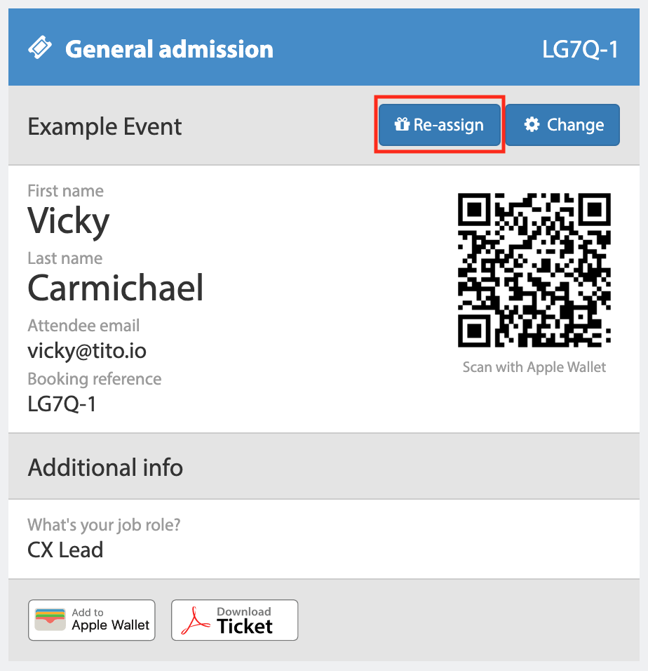 A screenshot of a full ticket from Tito. There is a button highlighted with a red border for this example. It has a gift icon on it and it reads