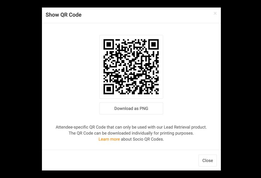 Screenshot of the Show QR Code modal.