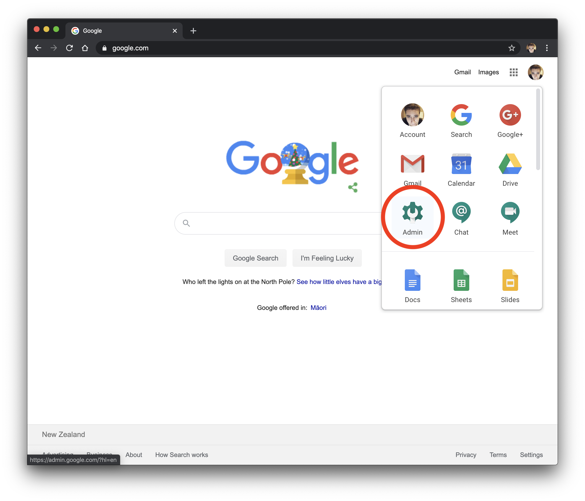 Log in to G Suite as the admin user
