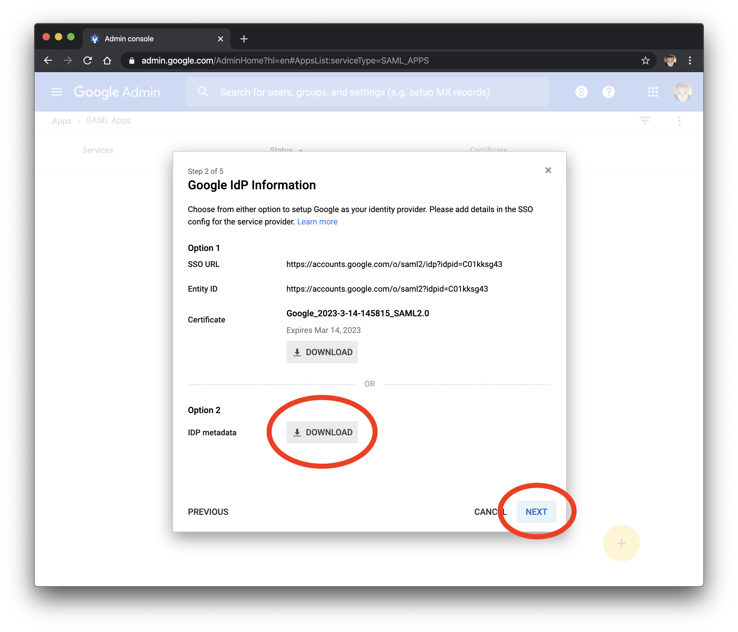 Download the IDP metadata from G Suite