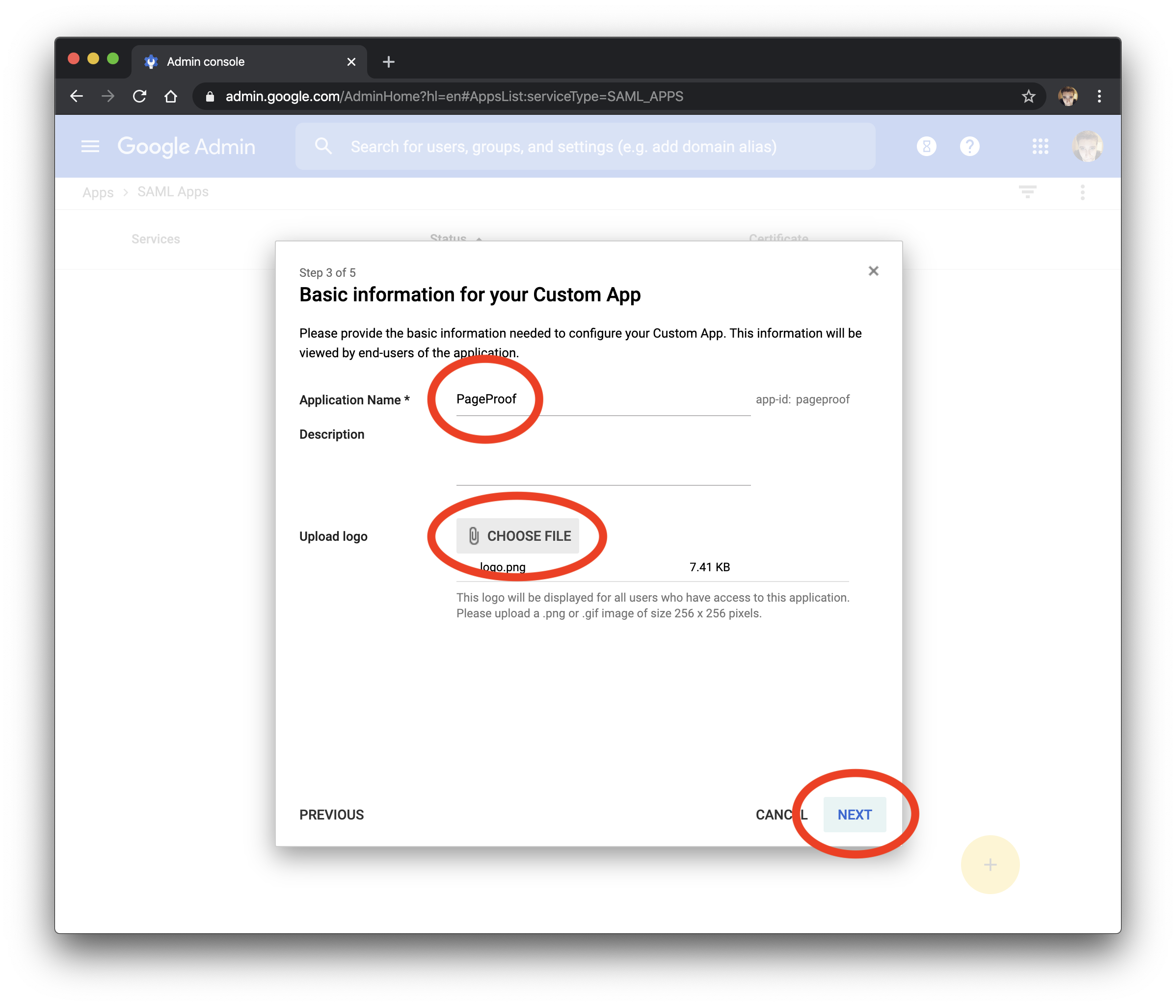 Add an application name and logo in G Suite