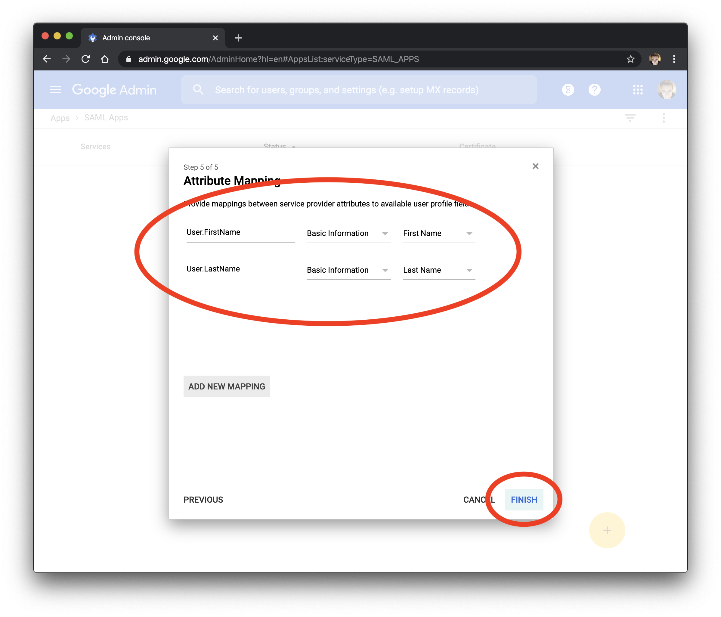 Add attribute mapping in G Suite