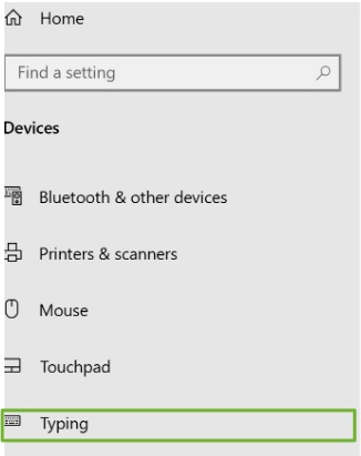 Typing is highlighted in the Devices section of Microsoft Edge Settings.