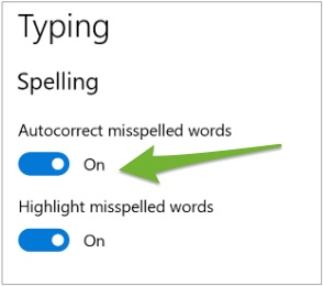 """An arrow pointing to the """"Autocorrect misspelled words"""" toggle switch in Edge."""