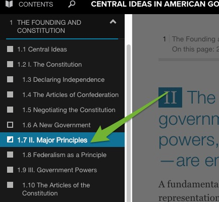 The expanded Contents menu with an arrow pointing to the current page.