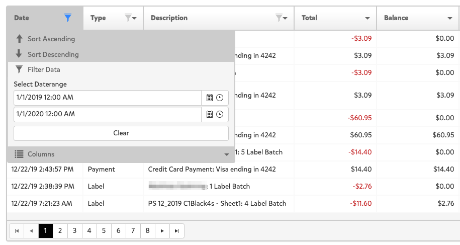 A screenshot of the landing page after clicking on View Transactions. This shows a spreadsheet that lists all transactions made on Pirate Ship and can filter the transactions for the date period by clicking on the column labeled Date and the filter icon to enter in the date range for 2019 from 1/1/2019 - 1/1/20.