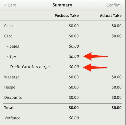 posBoss Cash Up Tips and Surcharge
