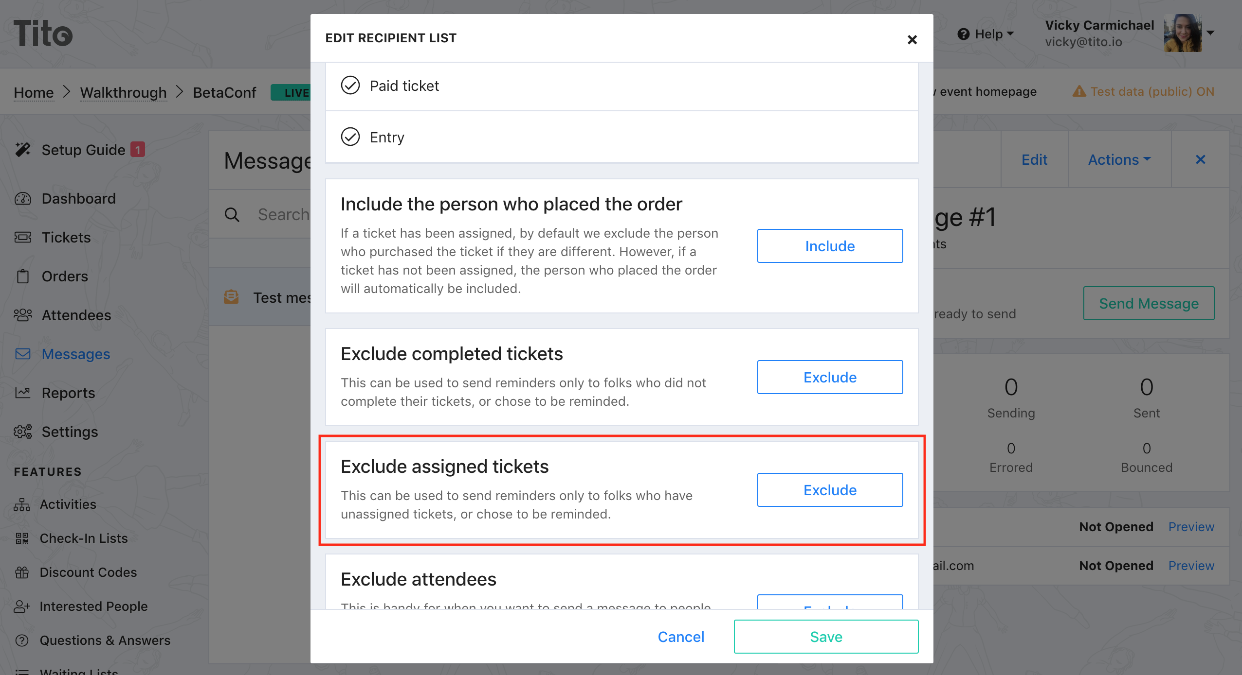 The Edit recipient list dialogue in Tito with the Exclude assigned tickets section highlighted.