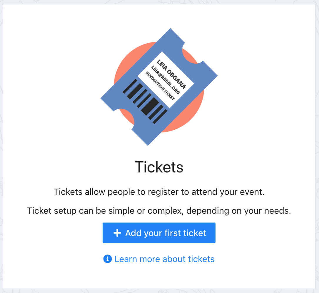 A screenshot of the Tickets screen in the setup guide in Tito. There is a blue button labelled