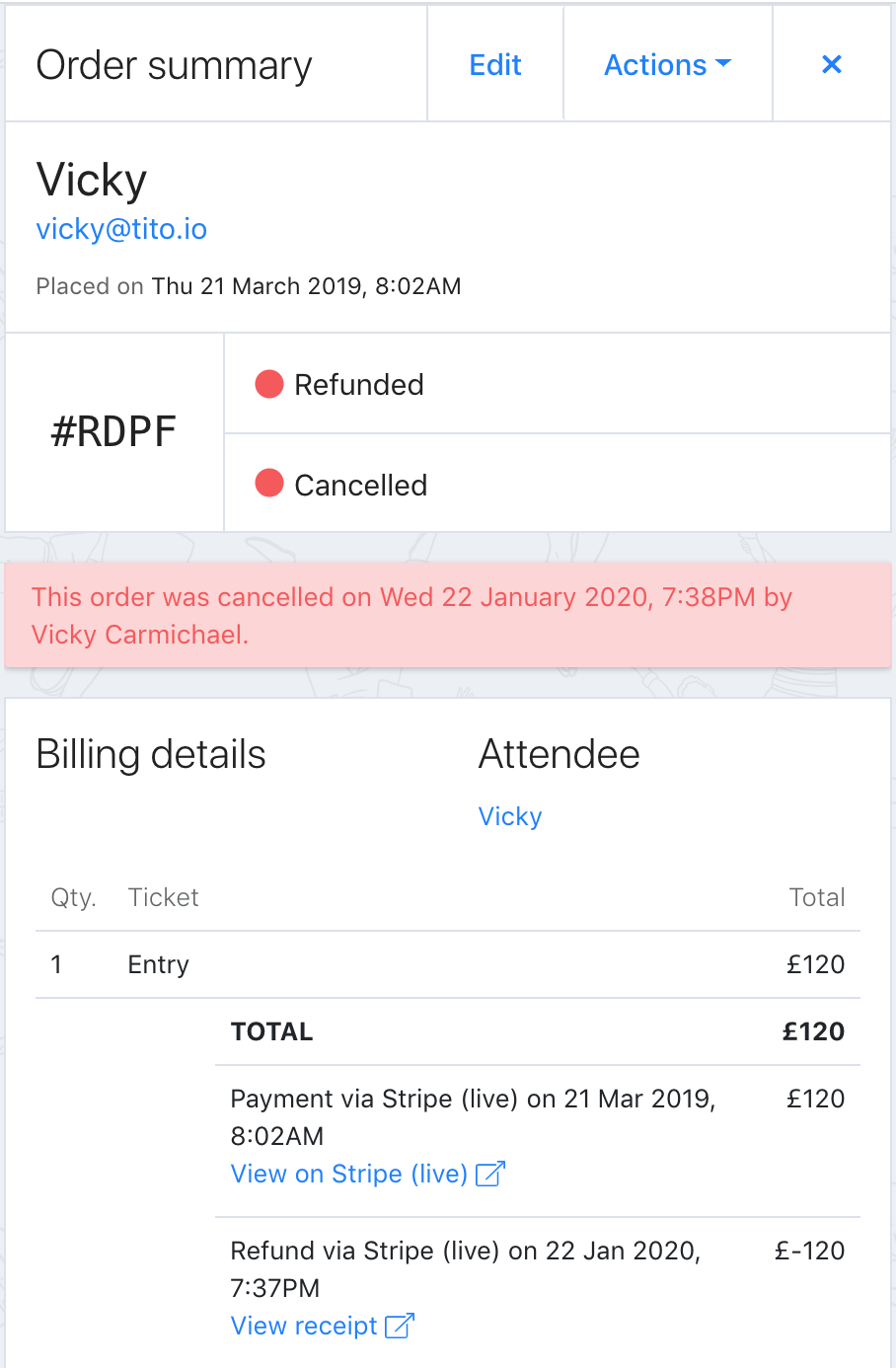 A screenshot of an Order summary showing that the order has been refunded and cancelled.