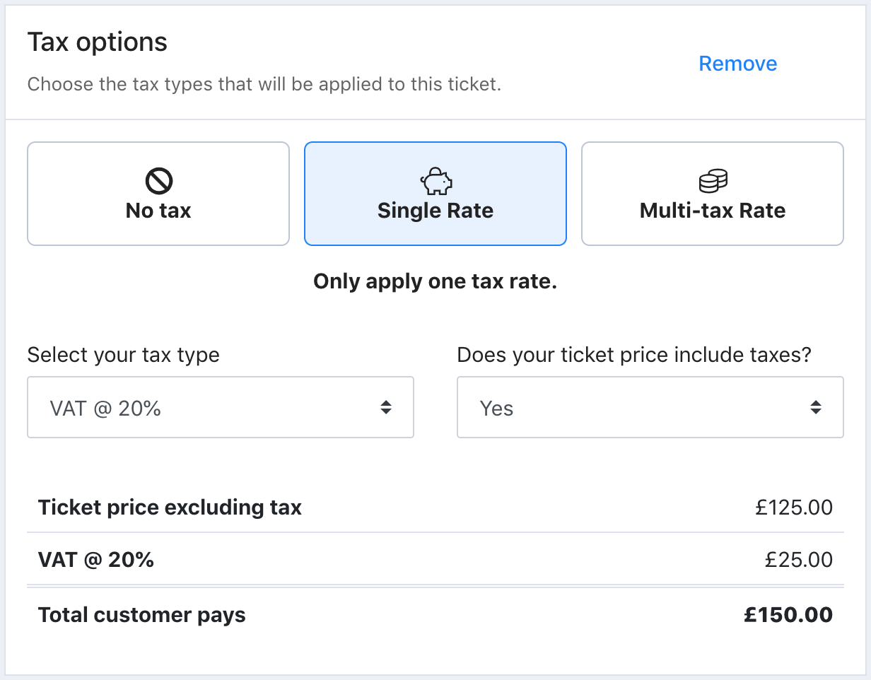 A screenshot from the Tax options settings in Tito. Single rate is applied.