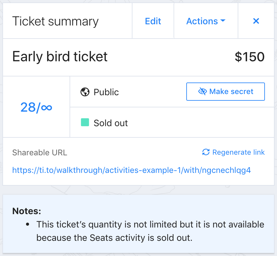 A screenshot of a ticket summary in Tito. The attached activity is sold out.