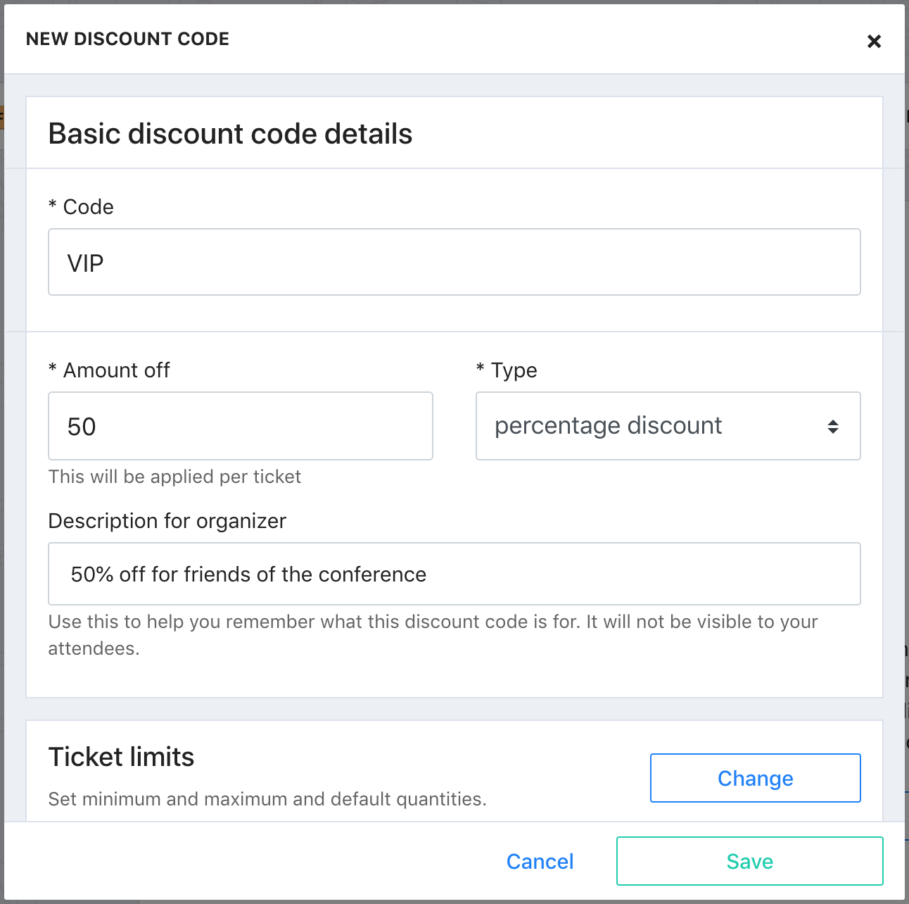 A screenshot of a sample Discount code in Tito. The code name is VIP, the Amount off is 50, and the Type is percentage discount.