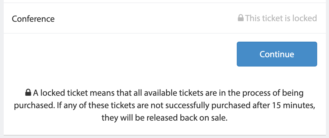 A screenshot of a locked ticket in Tito.