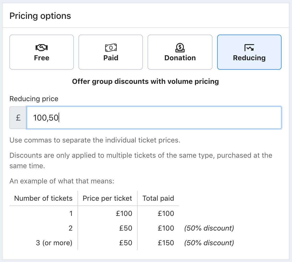 A screenshot of the Pricing options screen in Tito with reducing pricing set as 100,50.