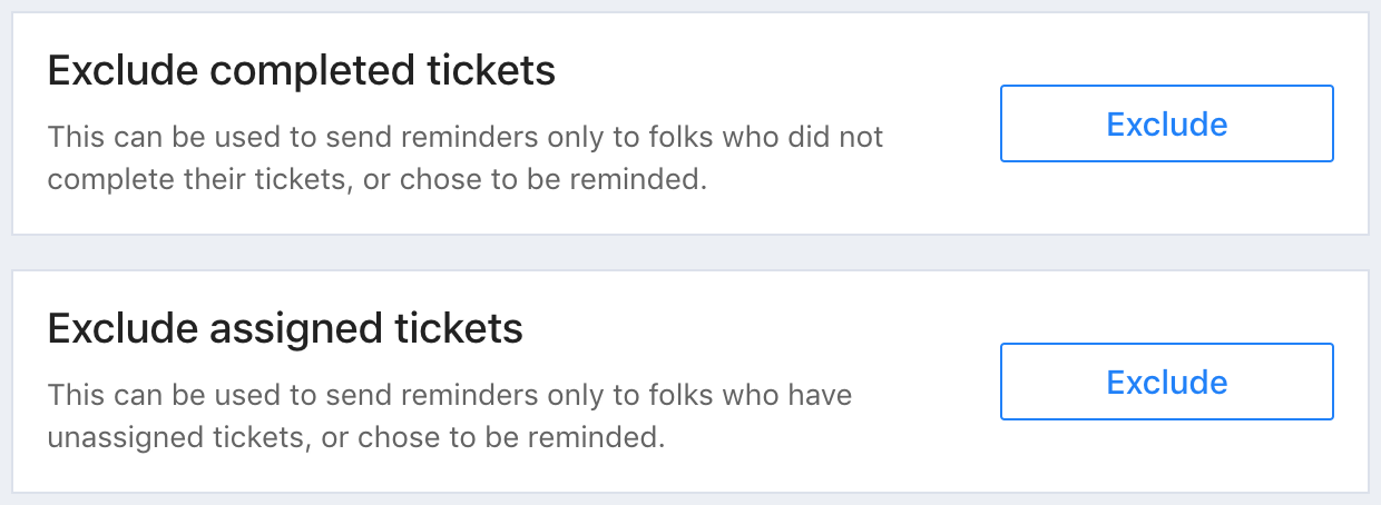 A screenshot from Tito with options to exclude completed tickets or assigned tickets