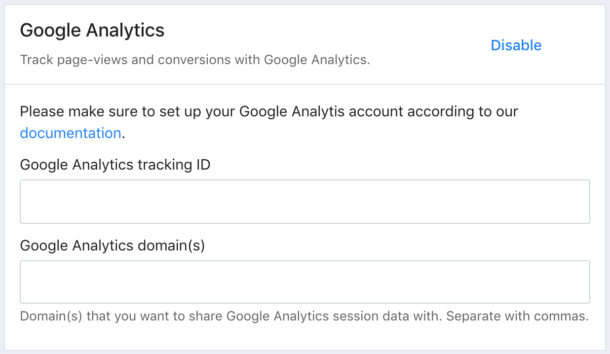 A screenshot of Tito. There are two fields to enter the Google Analytics tracking ID and the Google Analytics domain(s).