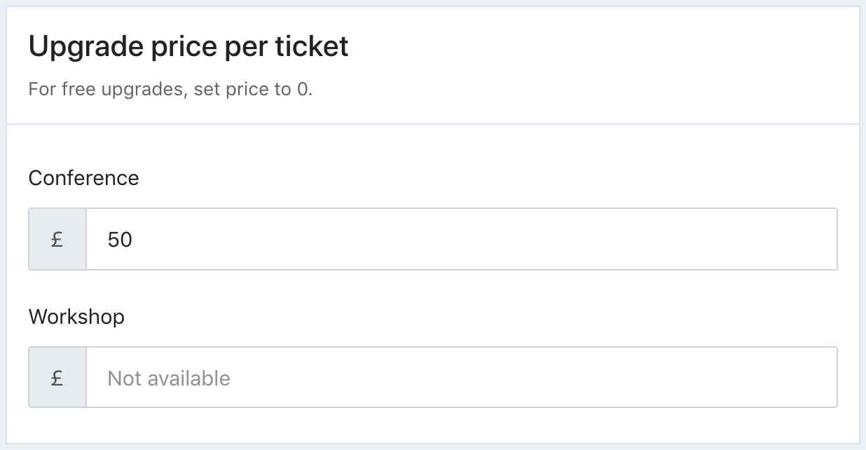 A screenshot of the Upgrade price per ticket section in Tito.