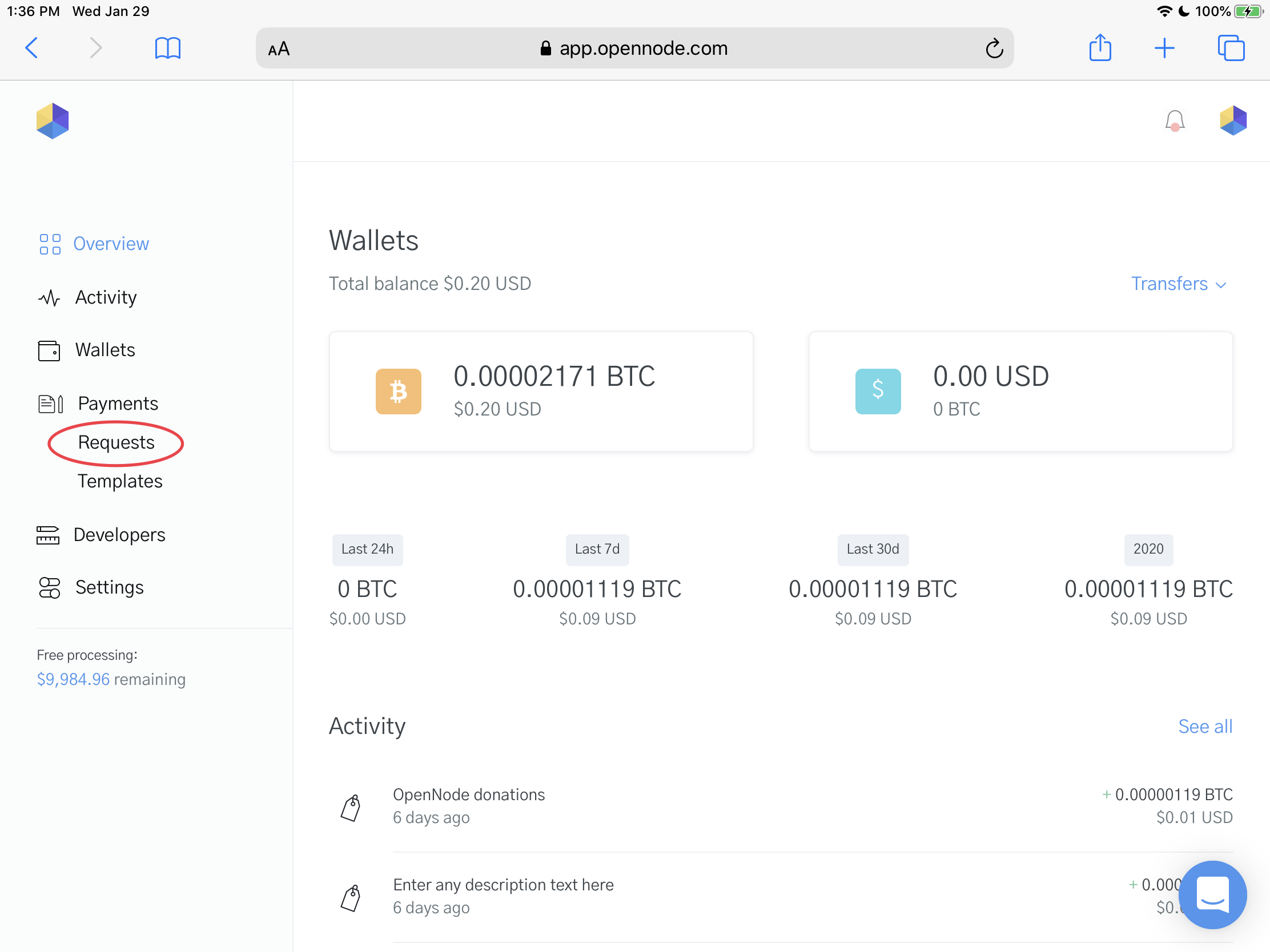 Image of the OpenNode Dashboard before the Point of Sale Screen