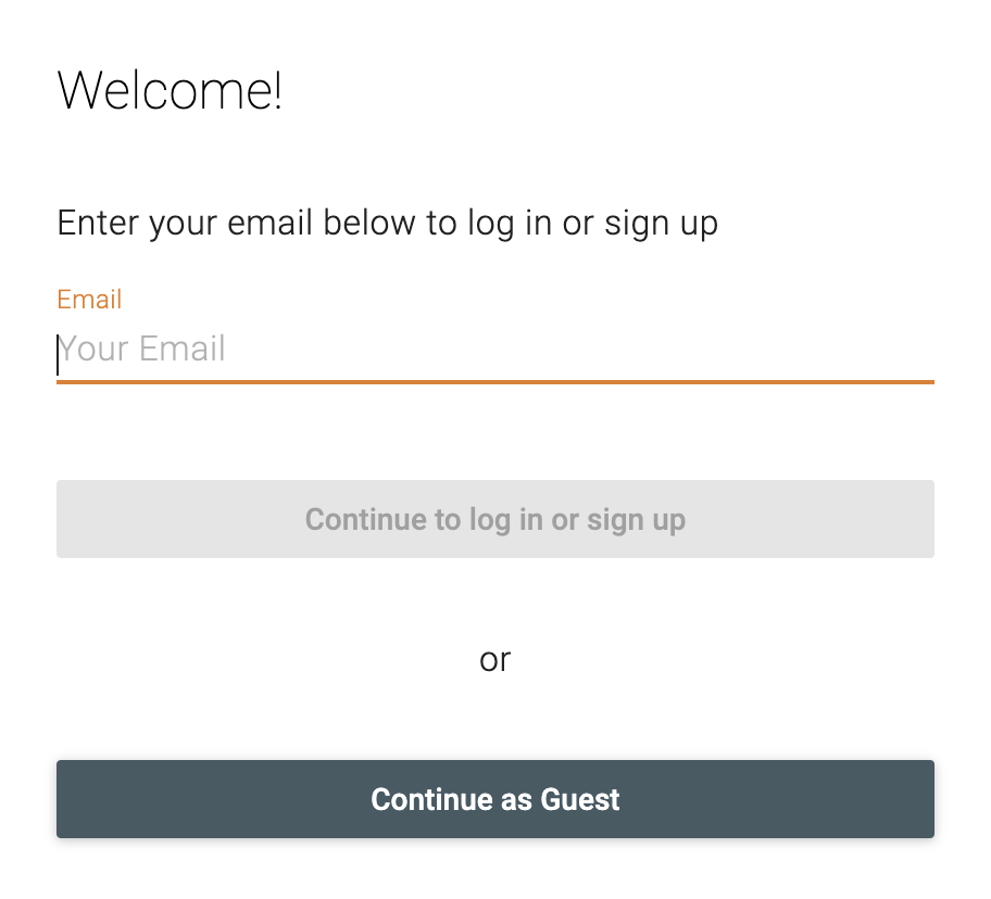 login to Retrium with your email or continue as a guest