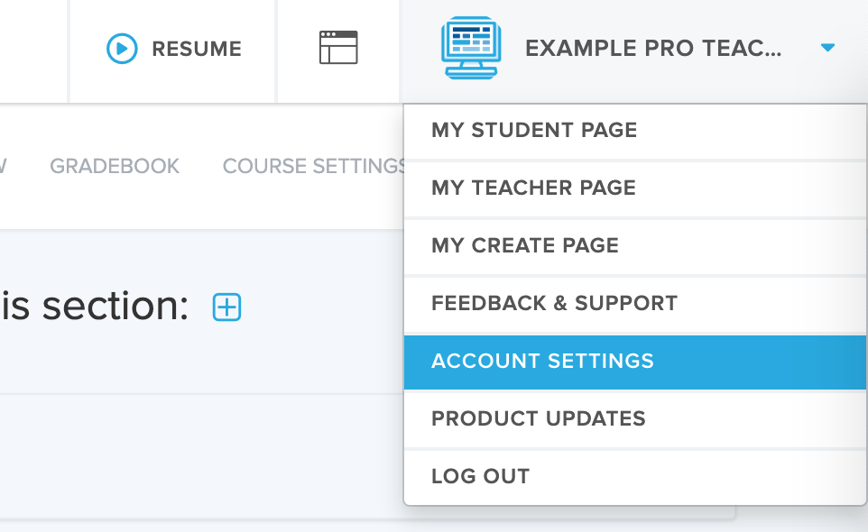 screenshot highlighting the Account Settings tab when clicking your name in the top-right corner on CodeHS