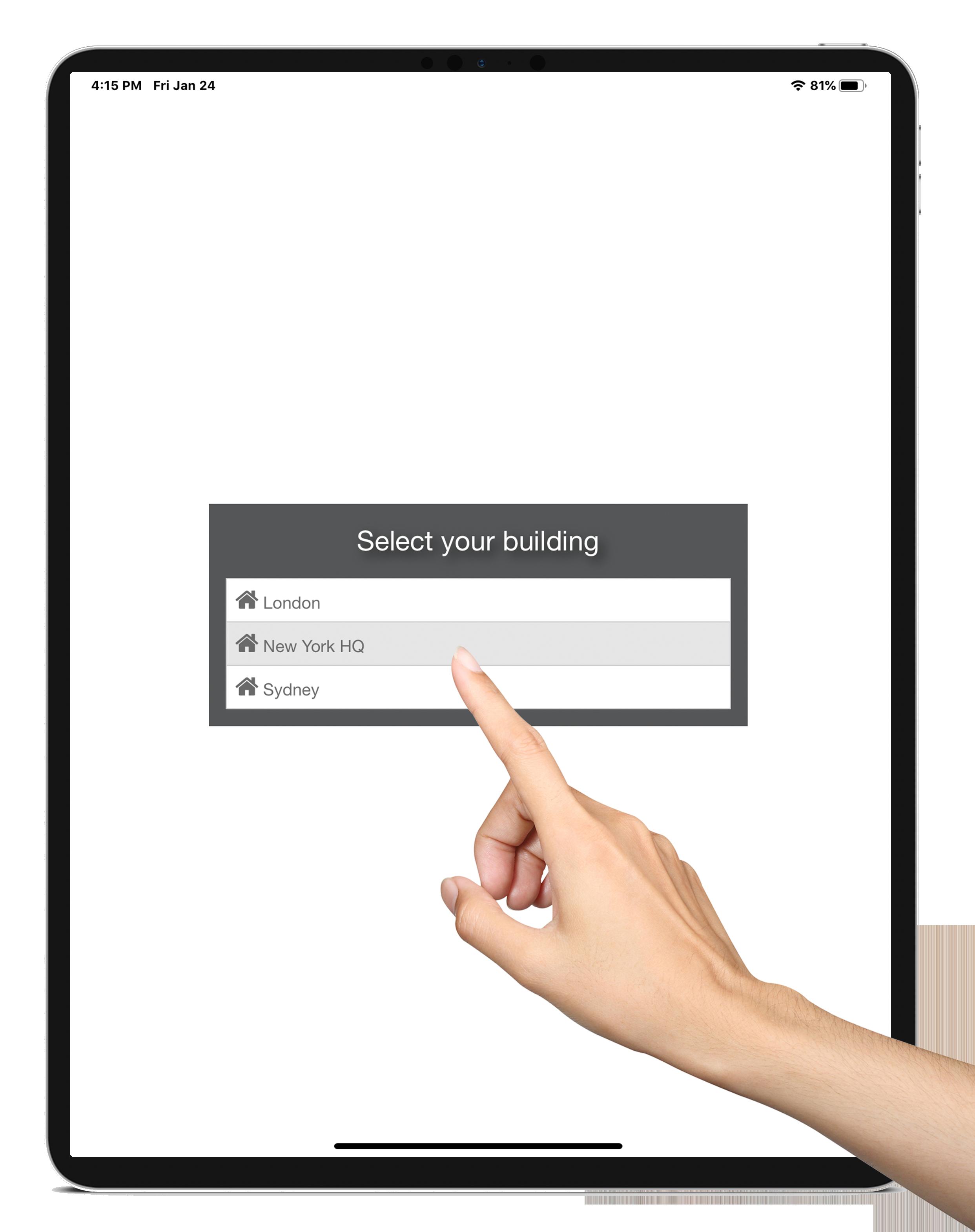 visitor management platform building selector