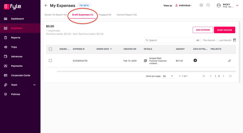 Draft expenses created via unique Fyle email ID.