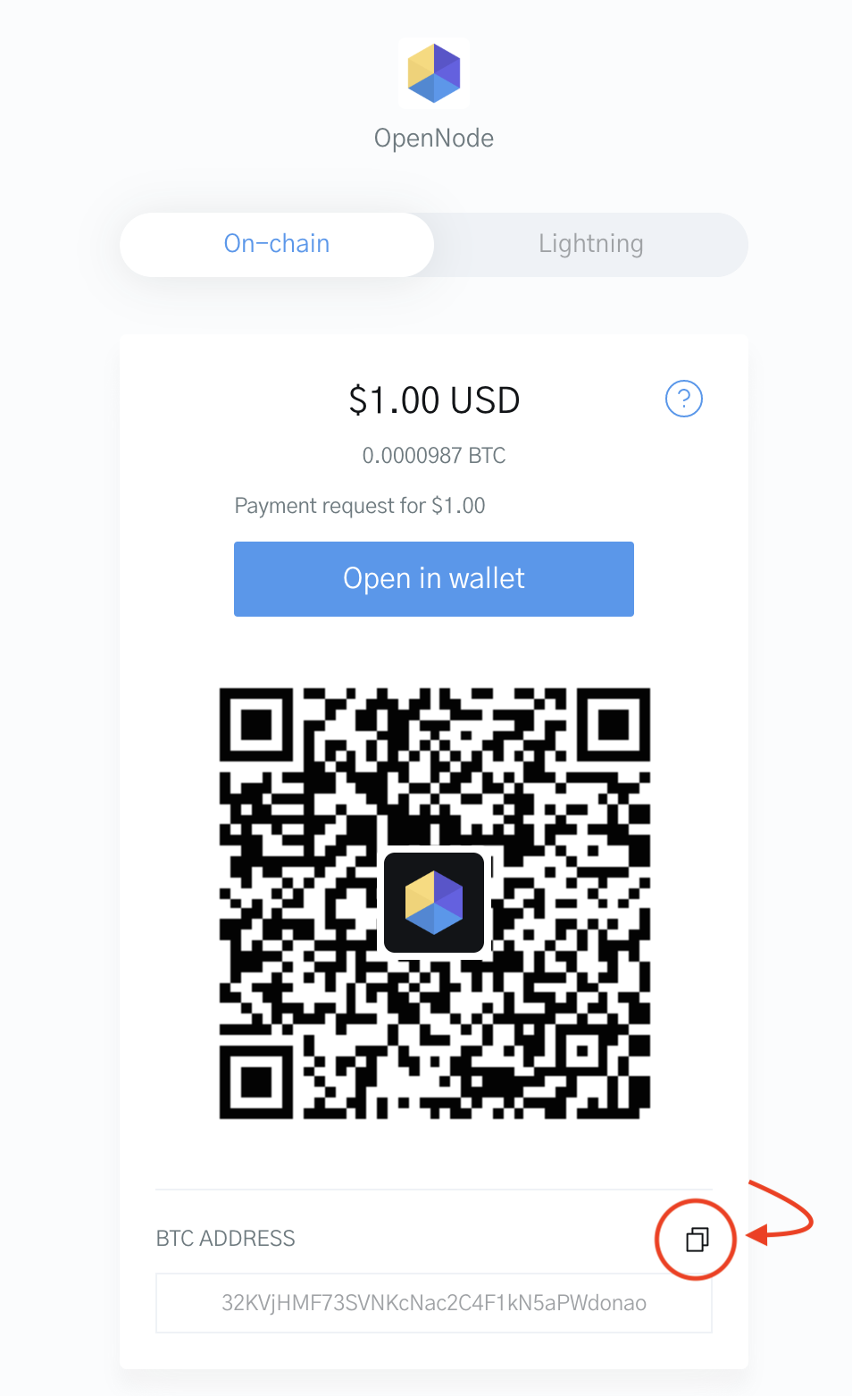 Image of the OpenNode Checkout for paying with a Bitcoin wallet