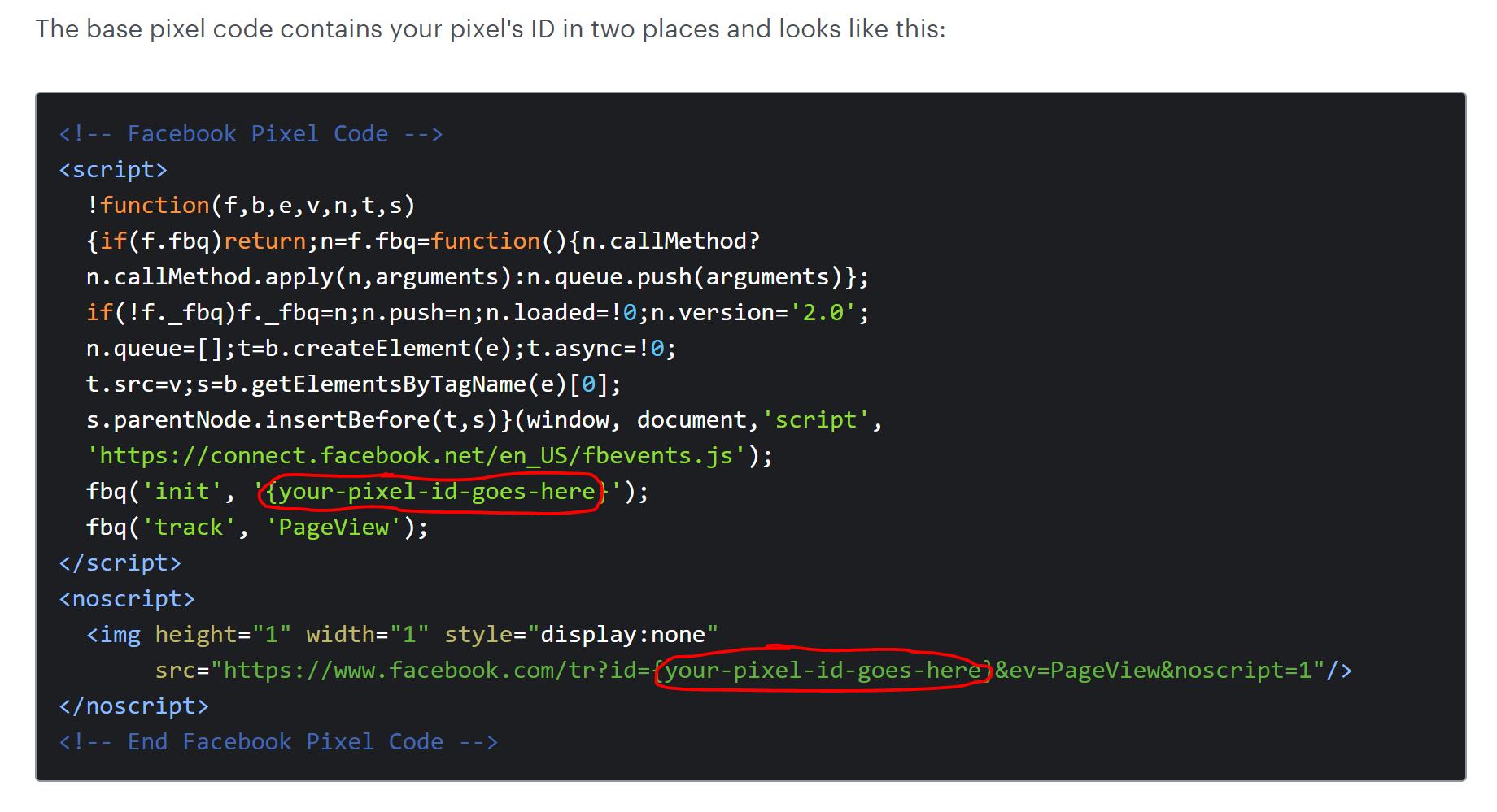 Screenshot of pixel code