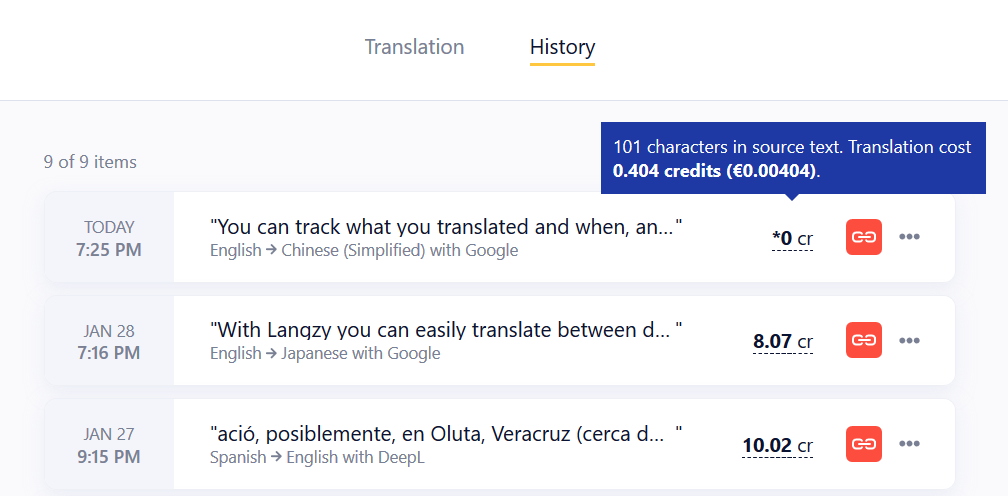 Every piece of text or a file translated with Langzy is recorded in your History page.