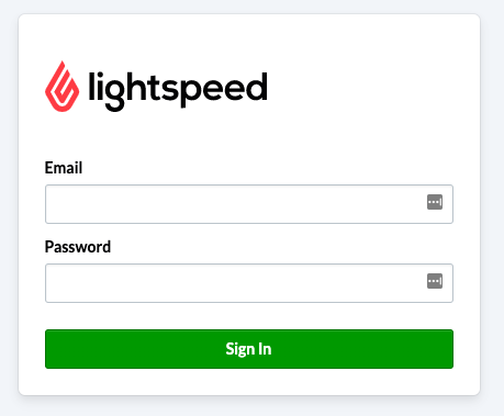 The Lightspeed login screen.
