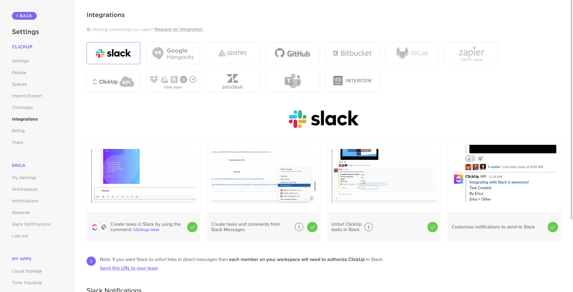 the ClickUp integrations page for Slack