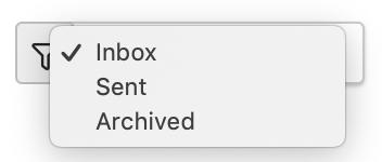 Dentally Inbox filter on