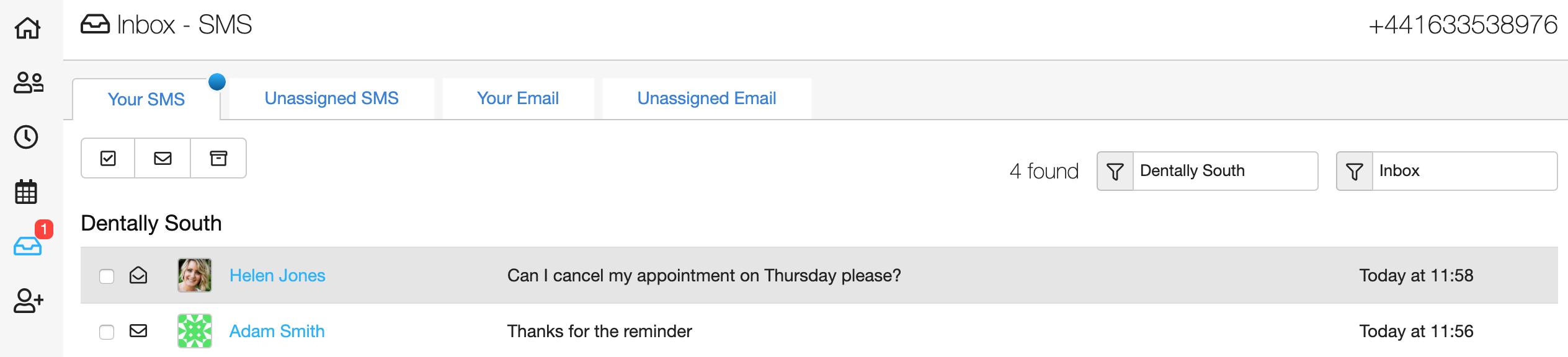 Dentally Inbox