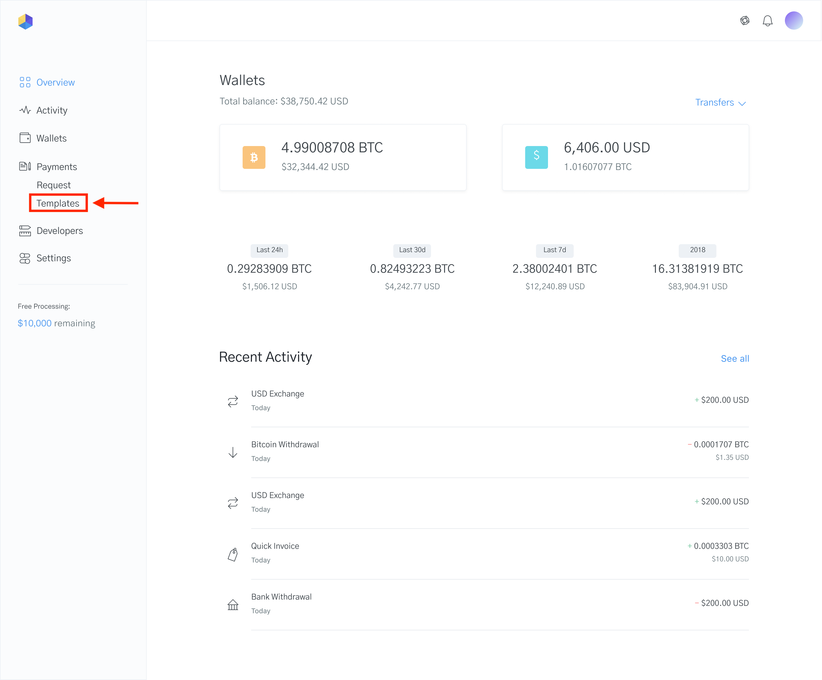 Image of the OpenNode dashboard showing how to create a Donate with Bitcoin button